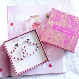 NWB BETSEY JOHNSON PINK HEART CANDY CANE EARRINGS